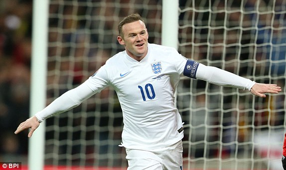 Wayne Rooney scoring his 50th England goal